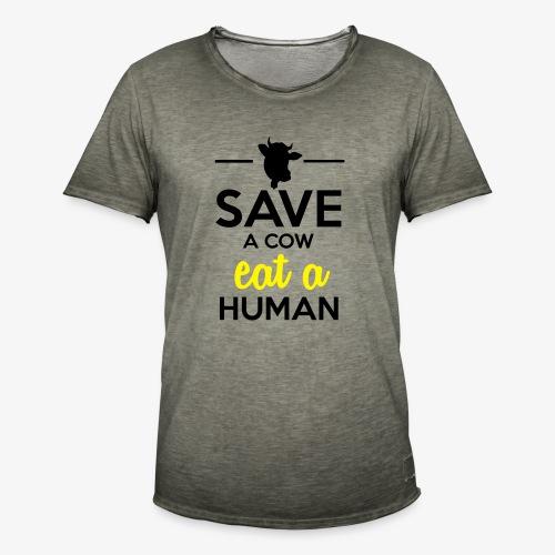 Menschen & Tiere - Save a Cow eat a Human - Männer Vintage T-Shirt