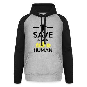 Menschen & Tiere - Save a Cow eat a Human - Unisex Baseball Hoodie
