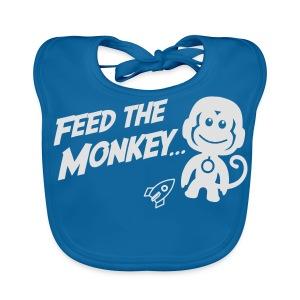 Feed The Monkey - Navy T - Baby Organic Bib