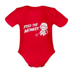 Feed The Monkey - Red Hoodie  - Organic Short-sleeved Baby Bodysuit
