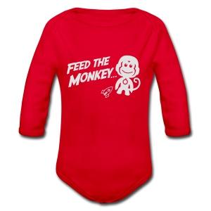 Feed The Monkey - Red Hoodie  - Organic Longsleeve Baby Bodysuit