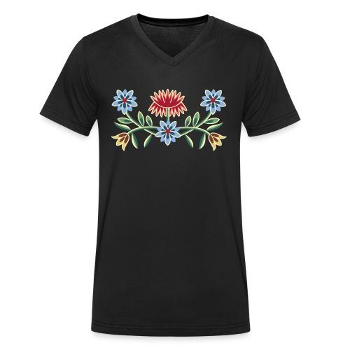 Nordlandsbunad broderi-illustrasjon - Økologisk T-skjorte med V-hals for menn fra Stanley & Stella