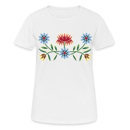 Nordlandsbunad broderi-illustrasjon - Pustende T-skjorte for kvinner
