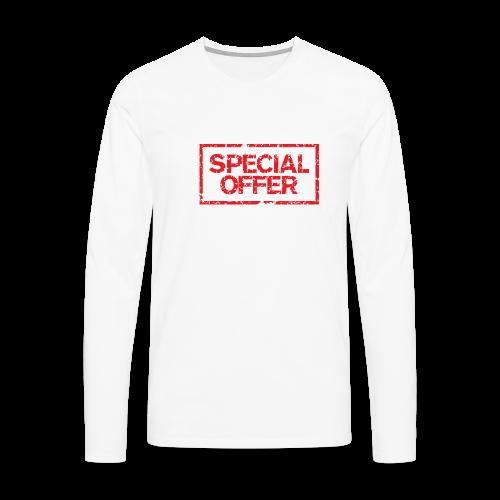 Special Offer T-Shirt (Herren Weiß Rot) - Männer Premium Langarmshirt