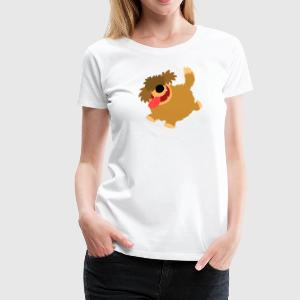 Big Hairy Cartoon Dog by Cheerful Madness!!  Aprons - Women's Premium T-Shirt
