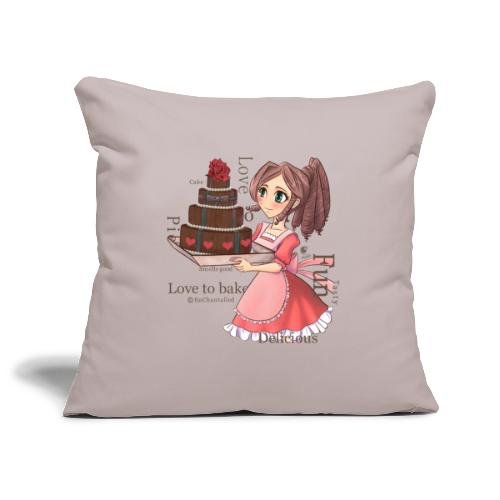 Apron: Manga girl with cake - Sofa pillowcase 17,3'' x 17,3'' (45 x 45 cm)