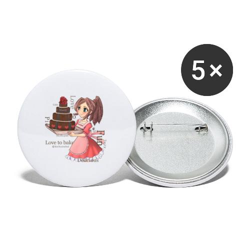 Apron: Manga girl with cake - Buttons large 2.2''/56 mm(5-pack)