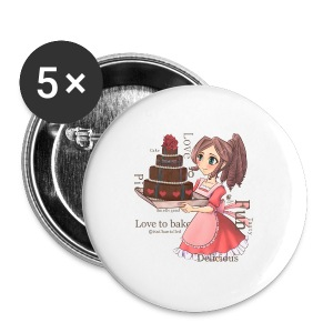 Apron: Manga girl with cake - Buttons small 25 mm