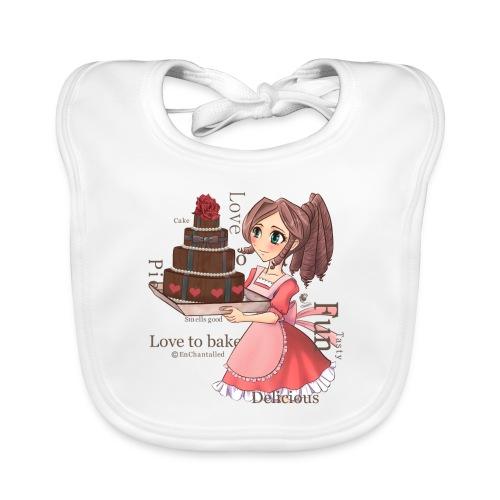 Apron: Manga girl with cake - Baby Organic Bib