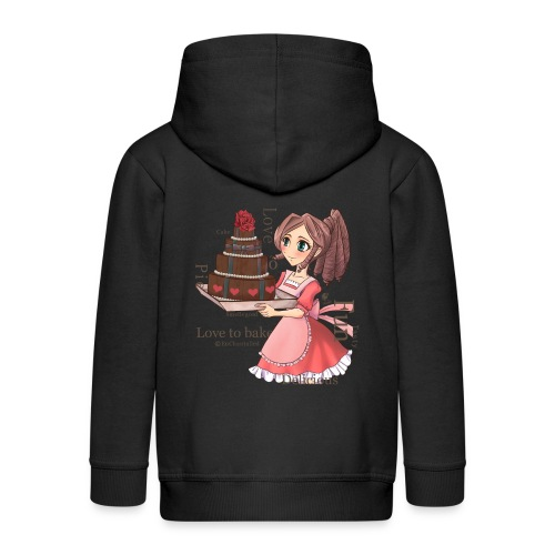 Apron: Manga girl with cake - Kids' Premium Zip Hoodie