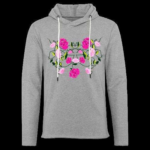 Langarmshirt für Frauen mit Rosen - Leichtes Kapuzensweatshirt Unisex