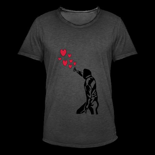 Langarmshirt , Frauenshirt mit Sprayer und Herzen - Männer Vintage T-Shirt