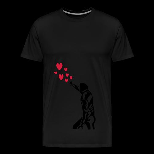 Langarmshirt , Frauenshirt mit Sprayer und Herzen - Männer Premium T-Shirt