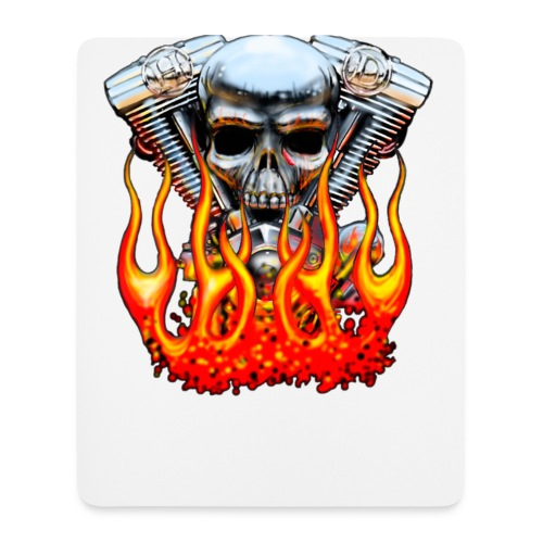 Skull  Flaming  - Tapis de souris (format portrait)
