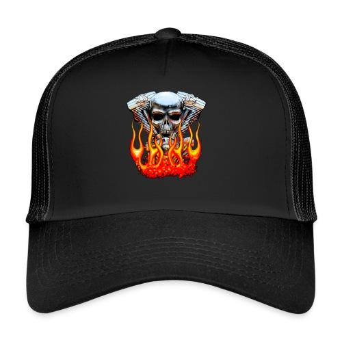 Skull  Flaming  - Trucker Cap
