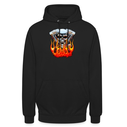 Skull  Flaming  - Sweat-shirt à capuche unisexe