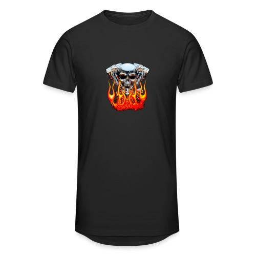 Skull  Flaming  - T-shirt long Homme