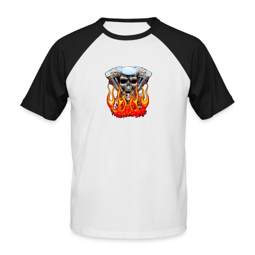 Skull  Flaming  - T-shirt baseball manches courtes Homme