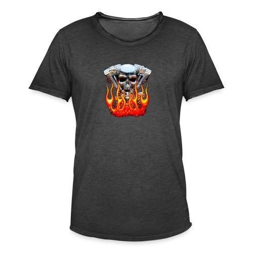 Skull  Flaming  - T-shirt vintage Homme