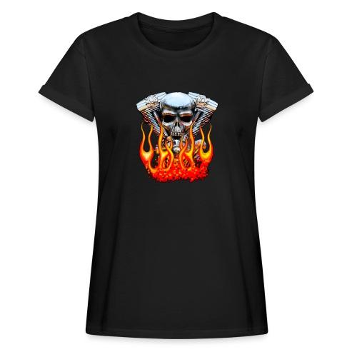 Skull  Flaming  - T-shirt oversize Femme