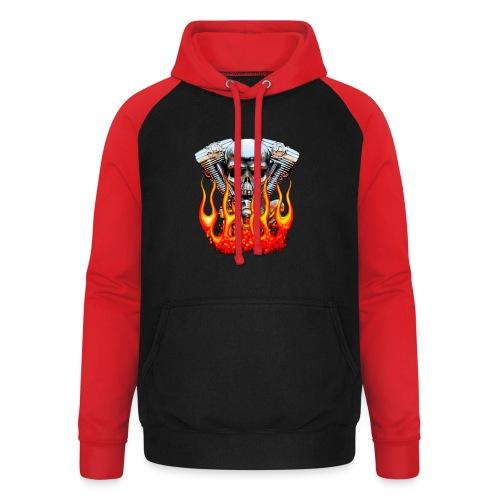 Skull  Flaming  - Sweat-shirt baseball unisexe