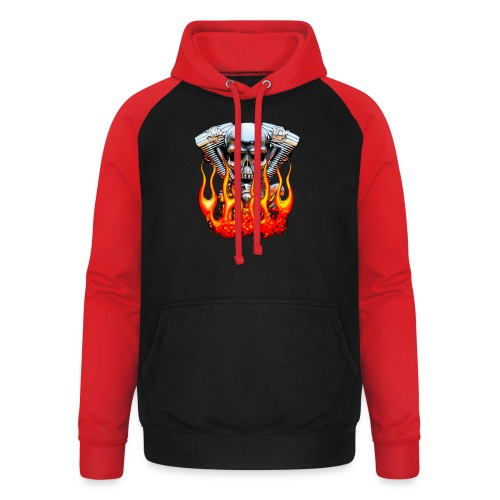 Skull  Flaming  - Sweat-shirt baseball unisexe