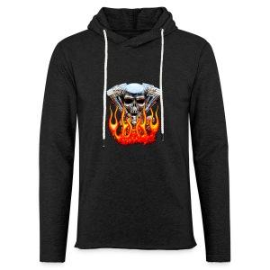 Skull  Flaming  - Sweat-shirt à capuche léger unisexe