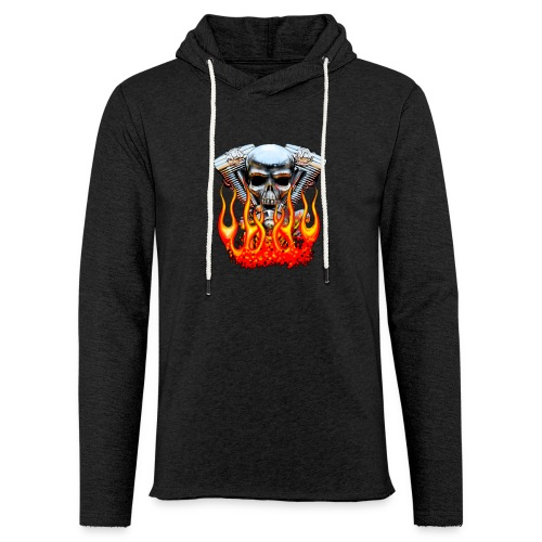 Skull  Flaming  - Sweat-shirt à capuche léger unisexe