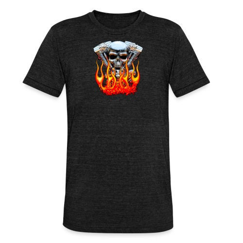 Skull  Flaming  - T-shirt chiné Bella + Canvas Unisexe