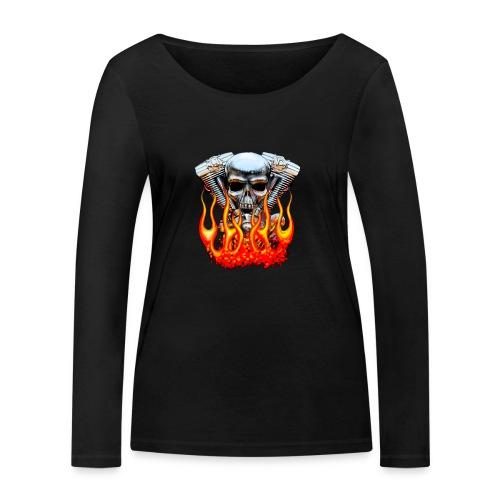 Skull  Flaming  - T-shirt manches longues bio Stanley & Stella Femme