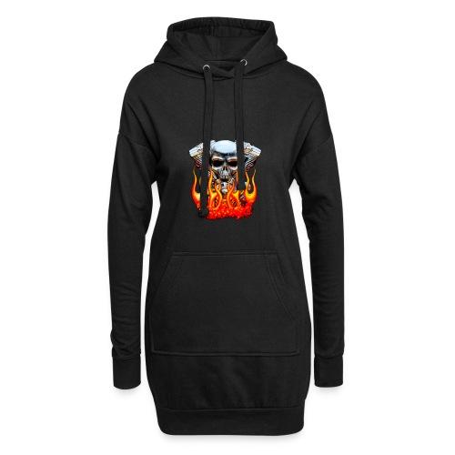 Skull  Flaming  - Sweat-shirt à capuche long Femme