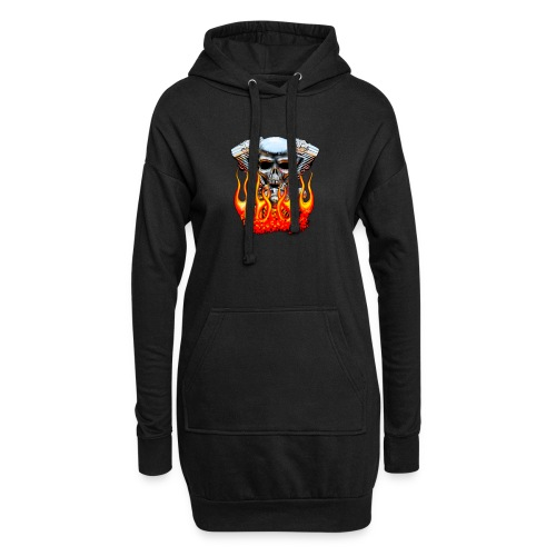 Skull  Flaming  - Sweat-shirt à capuche long Femme