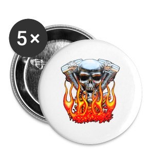 Skull  Flaming  - Badge grand 56 mm