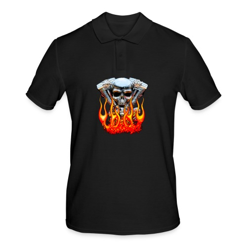 Skull  Flaming  - Polo Homme