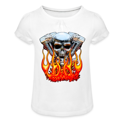 Skull  Flaming  - T-shirt à fronces au col Fille