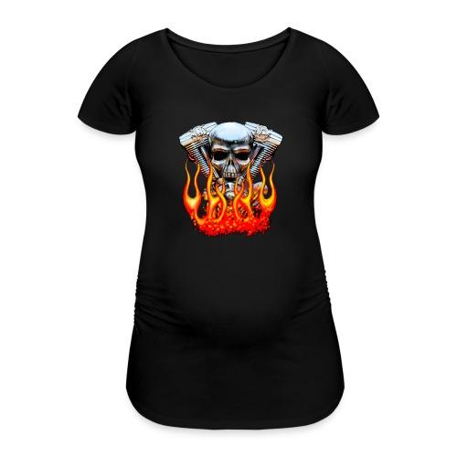 Skull  Flaming  - T-shirt de grossesse Femme