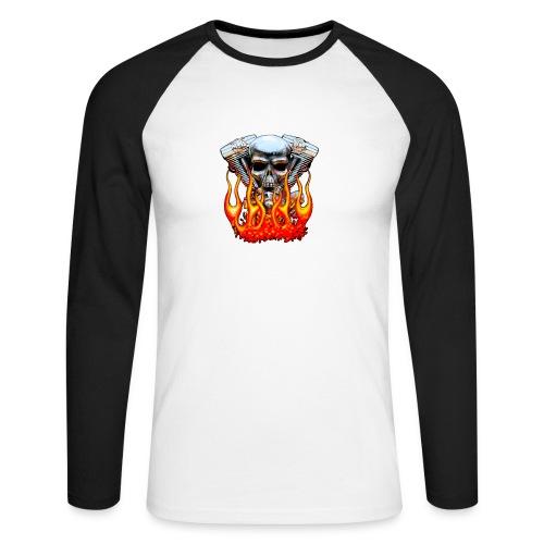 Skull  Flaming  - T-shirt baseball manches longues Homme