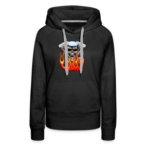Skull  Flaming  - Sweat-shirt à capuche Premium pour femmes