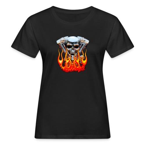 Skull  Flaming  - T-shirt bio Femme