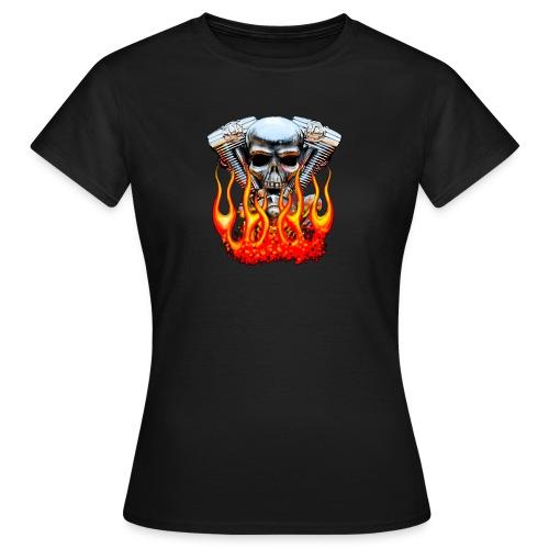 Skull  Flaming  - T-shirt Femme