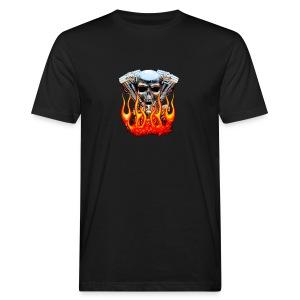 Skull  Flaming  - T-shirt bio Homme