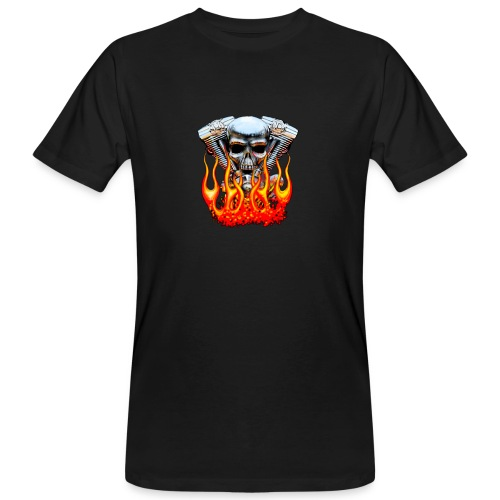 Skull  Flaming  - T-shirt bio Homme