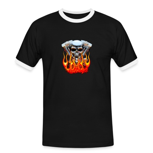 Skull  Flaming  - T-shirt contrasté Homme