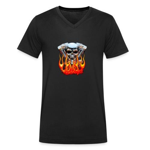 Skull  Flaming  - T-shirt bio col V Stanley & Stella Homme