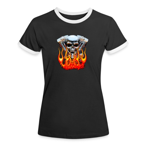 Skull  Flaming  - T-shirt contrasté Femme