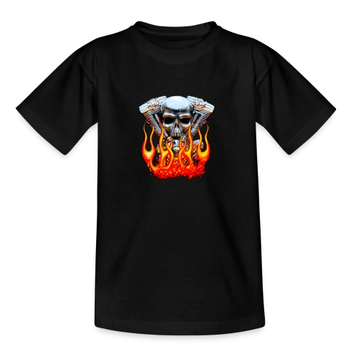 Skull  Flaming  - T-shirt Ado