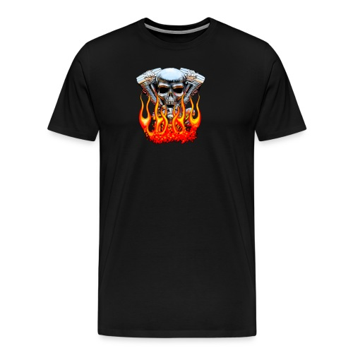 Skull  Flaming  - T-shirt Premium Homme