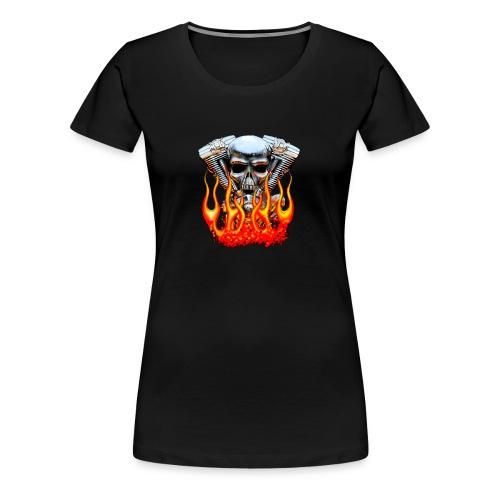 Skull  Flaming  - T-shirt Premium Femme
