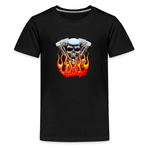 Skull  Flaming  - T-shirt Premium Ado