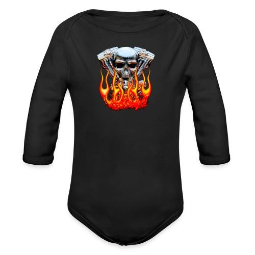 Skull  Flaming  - Body bébé bio manches longues